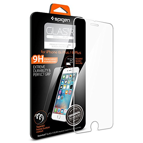 """'Spigen iPhone 6plus 6S Plus [Glass """"Glas. tR SLIM]-with tempered glass crystal clear screen protector for iPhone 6/6S Plus [SGP11634]"""
