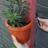 "Hugger - Downspout Flower Pot and Planter That Attaches to Rain Pipe, Fastening Strap Included, approx 7""w x 6"" x 7"", Terracotta"