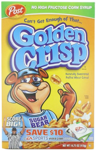 Post Golden Crisp Cereal, 14.75-Ounce Boxes (Pack of 4)