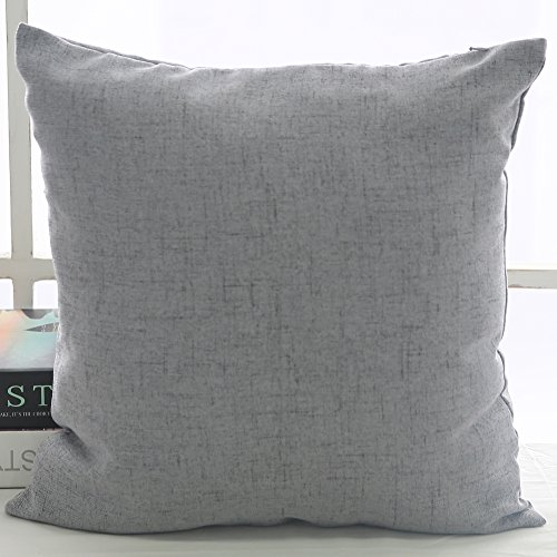 deconovo faux linen look throw cushion case pillow cover with invisible zipper for sofa 18x18. Black Bedroom Furniture Sets. Home Design Ideas