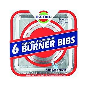 """E-Z Foil Gas Burner Bib Dw Safe, Large 0"""" Aluminum 600 Deg F"""