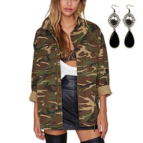Sitengle Donna Giacca Casual Retrò Stile Militare Camouflage Cappotto Jeans Giacche Cappotti