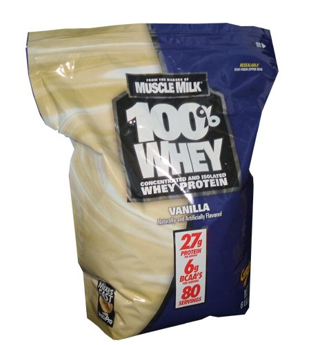 CytoSport makers of Muscle Milk 100% Whey Protein 27g 6lb Bag of Vanilla