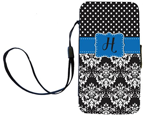 """Rikki Knighttm Rikki Knight Initial """"H"""" Lime Green Black Damask Dots Monogrammed Galaxy S3 I9300 Pu Leather Wallet Type Flip Case With Magnetic Flap And Wristlet For Samsung Galaxy S3 front-556735"""