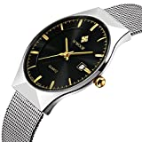 Tamlee Fashion Casual Brand Men's Quartz Watch Date Mesh Steel Strap Ultra Thin Dial Clock (Black)
