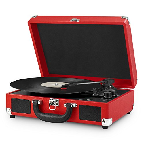 Innovative Technology Nostalgic 3-Speed Vintage Bluetooth Suitcase Turntable, Red