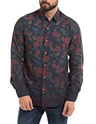 Shuffle Men's Casual Shirt (8907423017498_2021511301_Medium_Navy)