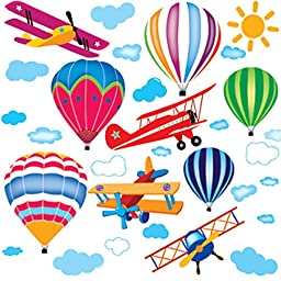 Hot Air Balloons & Airplanes Aeroplanes Wall Decals Stickers Wallpaper - PVC Art Mural Vinyl Wall Stickers - Nursery Kindergarten Living Room Bedroom