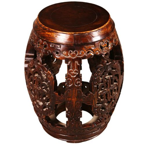 Cheap EXP Handmade Antique Style 21″ Intricately Carved Barrel-Shaped End Table With Mahogany Finish (B001B11HC2)