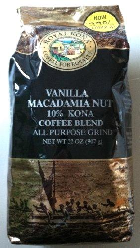 Vanilla Macadamia Nut Royal Kona Brand (10% Kona Coffee) 32 Ounces All Purpose Grind