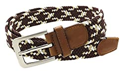 Mens Colorful Braided Stretch Belt Silver Metal Buckle (Brown/Beige/White-S)