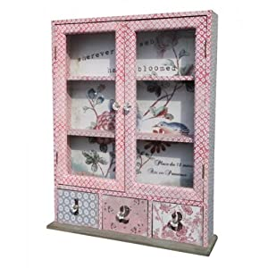 FRENCH SHABBY CHIC VINTAGE PINK BLUE DECOUPAGE PATCHWORK STYLE GLASS WALL CAB