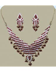Stone Studded Necklace With Earrings - Stone And Metal