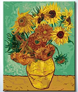 "DiyOilPaintings Van Gogh Sunflowers in Vase Paint By Number Kits, 16""X20"""