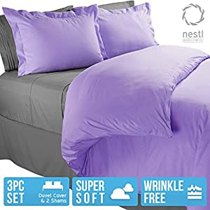 Nestl Bedding Duvet Cover, Protects and Covers your Comforter / Duvet Insert, Luxury 100% Super Soft Microfiber, Queen Size, Color Lilac Lavender, 3 Piece Duvet Cover Set Includes 2 Pillow Shams