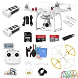 DJI Phantom 3 Standard Drone Quad Copter W/ 2.7K/HD Camera Gimbal Essential Kit: 1 Extra DJI Battery, 1x 64GB SD Card, Snap on Prop Guards and More