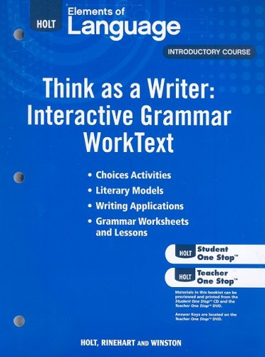 Elements of Language: Think As A Writer Interactive Writing Worktext Grade 6 (Eolang 2009)