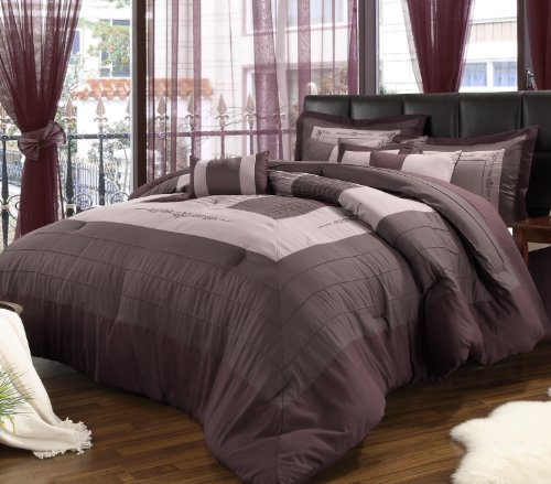 Chic Home 8-Piece Violet Oversized And Overfilled Comforter Set, Plum front-970869