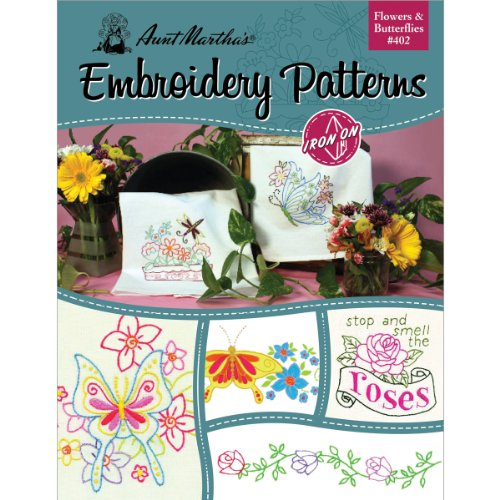 AUNT MARTHAs Flowers and Butterflies Embroidery Transfer Pattern Book, Over 25 Iron on Patterns