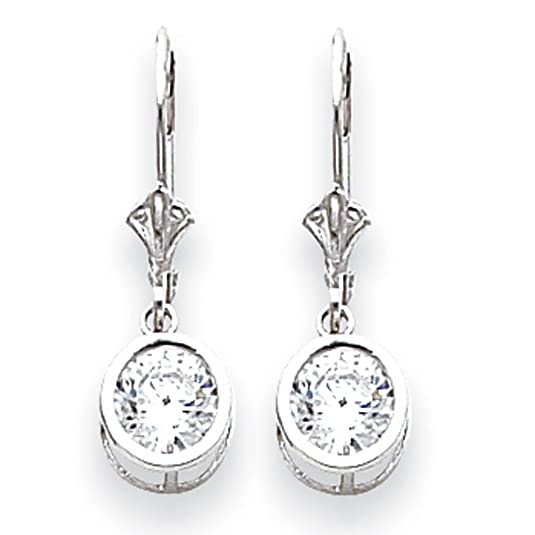 14ct White Gold 6mm Cubic Zirconia Leverback Earrings