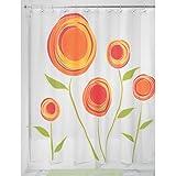 InterDesign Botanical Shower Curtain, 72 x 72-Inch, Marigold, Red/Orange