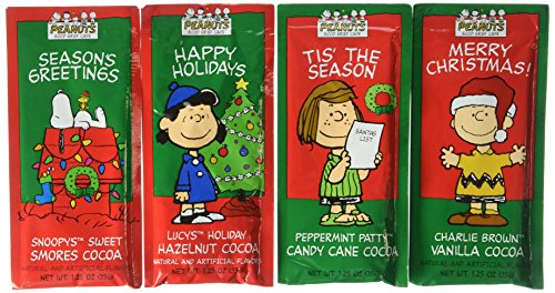 Peanuts Gang Hot Chocolate Gift Set Eight 1.25 Oz Packets Vanilla, Hazelnut, Candy Cane & Smores Cocoa Mix Great Gift Or Stocking Stuffer! Kosher Certified (Candy Stocking Stuffers For Kids compare prices)