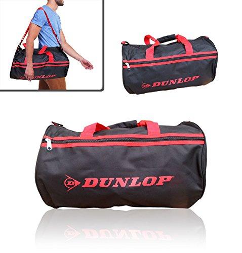 Borsone due maniglie sport viaggio mare DUNLOP bagaglio a mano 50 x 30 x 22 cm vari colori (nero e rosso)