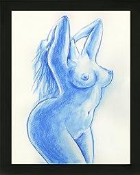 Original Art Bordeaux Boudoir BBW Voluptuous Curvy Woman Nude Female Watercolor Painting with black wood frame