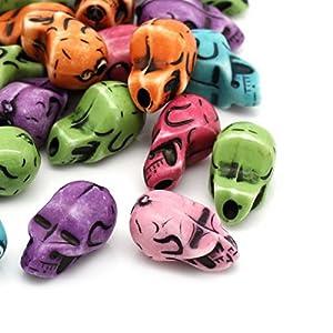 Housweety 50 Mix Acryl Perlen Beads Schaedel Basteln 12mm x 21mm