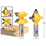 Yonico 15223 Matched Tongue and Groove Router Bit Set with Edge Banding 1/2-Inch Shank
