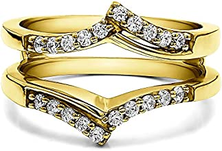Silver Chevron Prong Set Wedding Ring Guard with Charles Colvard Created Moissanite 023 ct twt