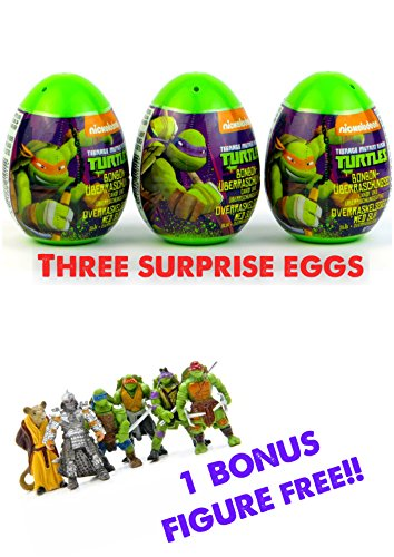 Three new Teenage Mutant Ninja Turtles surprise eggs with toy, candy sticker! As seen on YouTube videos! Great unboxing fun! (Ninja Turtles Candy compare prices)