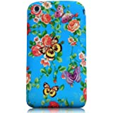 Xtra-Funky Exclusive Soft Silicone Flower Floral & Butterflies Case for iPhone 3G 3Gs (Blue Floral & Butterlies)