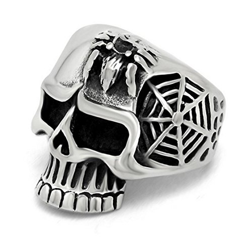 PSRINGS s Spider Ring Personalty Handmade 316L Stainless Steel 3D Skull Cobweb and Spider Relief Ring 7.0