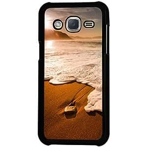Casotec Sun Set Beach Design 2D Hard Back Case Cover for Samsung Galaxy J2 - Black