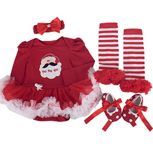 TANZKY® Baby Girls' 4PCs Long Sleeve Tutu Dress Santa Ho Ho Ho Headband Shoes US Size 3M Red