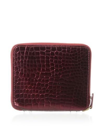 AEON Women's Small Zip Wallet, Red Metallic Croc