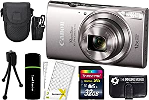 Canon PowerShot ELPH 360 HS 20.2MP 12x Zoom Full-HD 1080p Wi-Fi Digital Camera (Silver) + 32GB Card + Reader + Case + Accessory Bundle