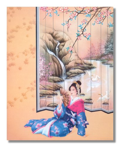 Japanese Lady Wearing Kimono with Fan Sitting Wall Picture 8x10 Art Print (Japanese Wall Fan Decor compare prices)