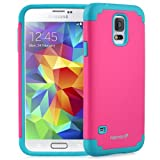 Fosmon HYBO-DUOC Slim Fit Dual-Layer Hybrid Case for Samsung Galaxy S5 (Blue and Pink)