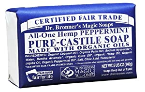 Dr. Bronner's Magic Soaps Pure-Castile Soap, All-One Hemp Peppermint, 5-Ounce Bars (Pack of 6)