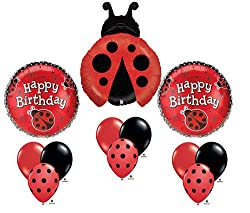 Ladybug Happy Birthday Balloon Bouquet Set Party Red Black Mylar Latex Lady Bug by Burton & Burton