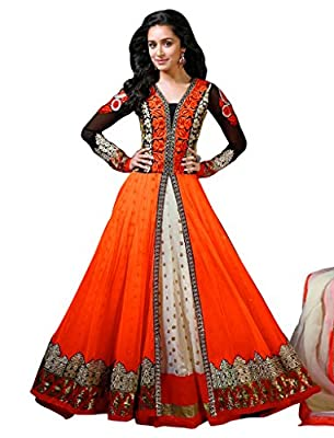 Sancom Orange Semi Stitched Georgette & Net Anarkali Salwar Suit - Dress Material