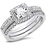 925 Sterling Silver Cushion Cubic Zirconia CZ 2Pc Halo Wedding Engagement Ring Insert Set
