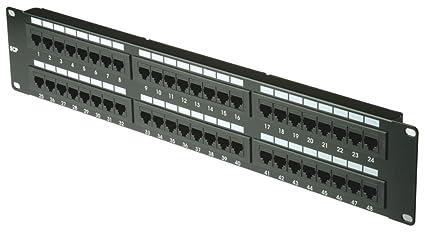 MHP ® 48 ports Cat 6 UTP Patch Panel / réseau Ethernet RJ45 / Rack Mountable / noir