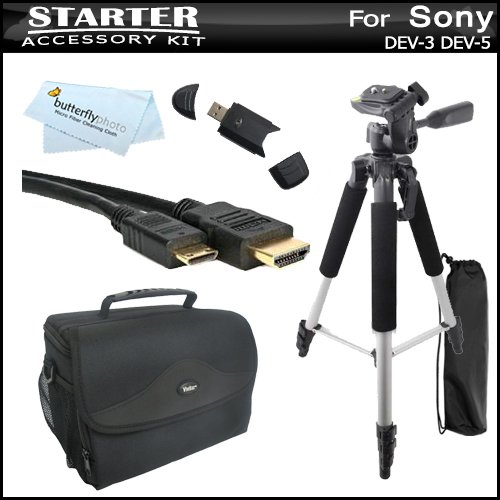 Starter Accessories Bundle Kit For Sony Dev-3, Sony Dev-5 Digital Recording Binoculars Includes Vivitar Pro Rugged Carrying Case / Bag + Mini Hdmi Cable + 57 Pro Tripod + Usb High Speed 2.0 Sd Card Reader + Microfiber Cleaning Cloth