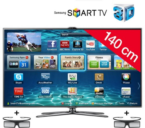 SAMSUNG UE55ES7000 3D LED Smart TV HD TV 1080p, 55 inches (140cm) 16/9, 800Hz, Freeview, 3D Ready, Ethernet, HDMI x3, USB 2.0 x3, Integrated WiFi