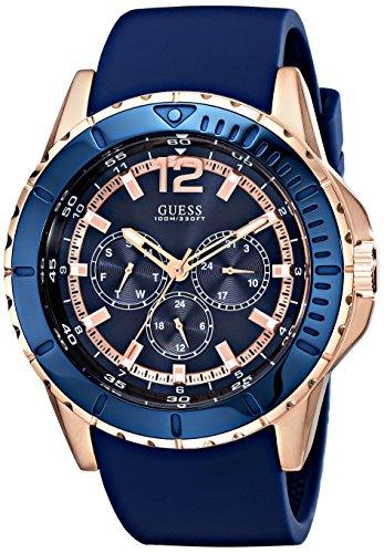 Guess U0485G1 46 mm in acciaio inox Custodia Blue Tessuto in gomma da uomo orologio