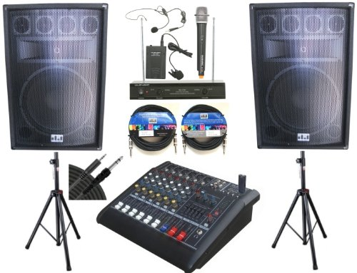"Complete Professional 2000 Watts Pa System 6 Channel Power Mixer 15"" Speakers Dual Wireless Microphone"