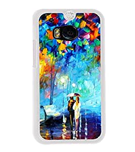 Love Couple Painting 2D Hard Polycarbonate Designer Back Case Cover for HTC One M8 :: HTC M8 :: HTC One M8 Eye :: HTC One M8 Dual Sim :: HTC One M8s